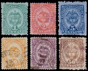 Colombia Scott 116, 117d, 118-120, 122 (1883) Used/Mint H F-VF, CV $24.55 B