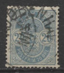 Denmark - Scott 40 - Definitive Issue -1884 - Used - Single 20s Stamp