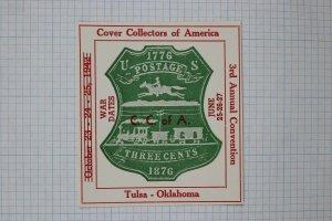 Cover Collectors America Tulsa OK 1942 Convention U218 Philatelic label souvenir