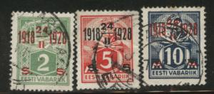 Estonia Scott 84-86 used overprinted stamps