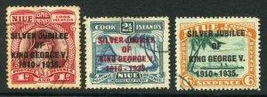 Niue SG69/71 1935 Silver Jubilee Set Used