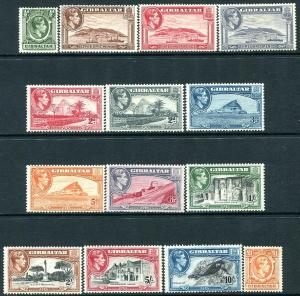 GIBRALTAR-1938-51 Set to £1 Sg 121-131 MOUNTED MINT V30166
