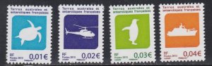 French Southern Antarctic Terr.# 484-487, Turtle, Ship, Dated 1973 NH