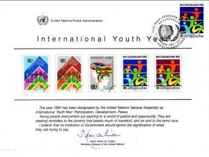 UN SC26 Youth Year Souvenir Card Vienna Cancel FDC