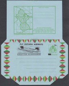 GUYANA 75c opt Arms Map Plane aerogramme unused DOUBLE OVERPRINT............J972