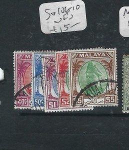 MALAYA SELANGOR  (P2206B) SULTAN  40C-$5.00  SG 106-110  VFU