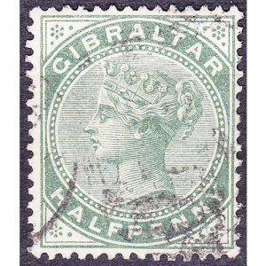 GIBRALTAR 1887 QV 1/2d Dull Green SG8 Used