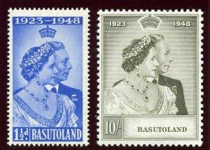 Basutoland 1948 KGVI Silver Wedding set complete superb MNH. SG 36-37. Sc 39-40.