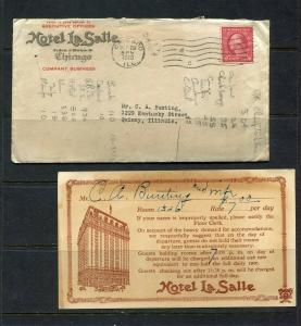 1920 Hotel La Salle (Chicago) $7 rate Card and letter - Nice