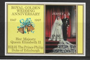 Jersey MNH S/S Golden Wedding Anniversary Queen Elizabeth II & Philip 1997