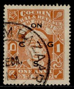 INDIAN STATES - Cochin GVI SG O56a, 1a brown-orange, USED.