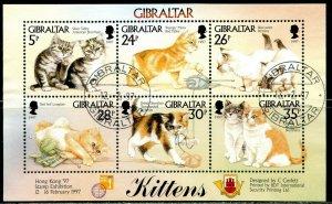 GIBRALTAR Sc#726 1997 Kittens Mini Sheet of 6 Complete Used