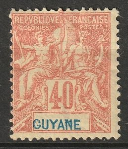 French Guiana 1892 Sc 45 MH* some disturbed gum