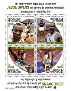 GUINEA - 2021 - Jesse Owens - Perf 4v Sheet -Mint Never Hinged