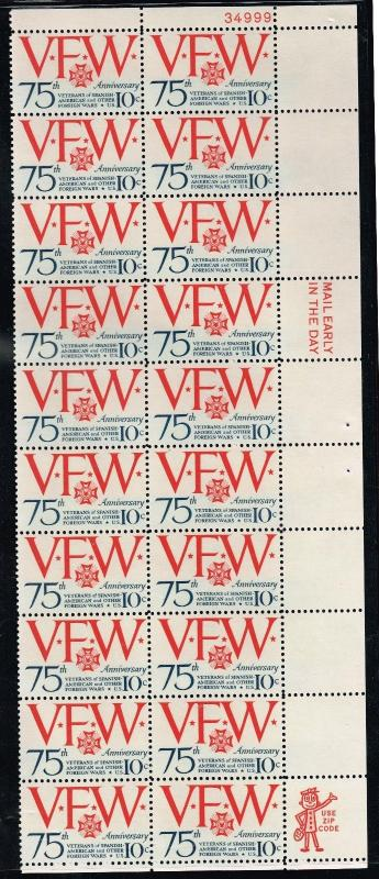 USA 1525 - VFW 75th Anniversary - Plate Block - MNH - VF - Strip of 20