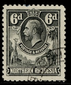 NORTHERN RHODESIA GV SG7, 6d slate-grey, FINE USED.