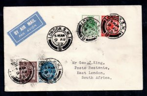 GB KGV 1929 PUC Low Values Airmail Cover to South Africa WS19002