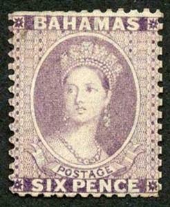 Bahamas SG29w 1863 6d rose-lilac wmk Crown CC (Inverted) Mint (no gum) VERY RARE
