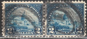 U.S. 572(2), $2 CAPITOL, HORIZONTAL PAIR. USED F-VF. (5A)