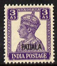 Indian States - Patiala 1941-46 KG6 3a bright violet unmo...