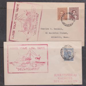 Argentina Two Diff. Cacheted Cvrs Maiden Voyage of Deltargentino - Dec. 21,1940