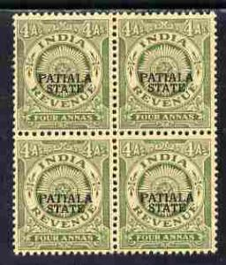 Indian States - Patiala 1934-49 4a green British Indian R...
