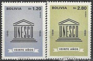 Bolivia  C289-90  MNH  UNESCO 20th Anniversary