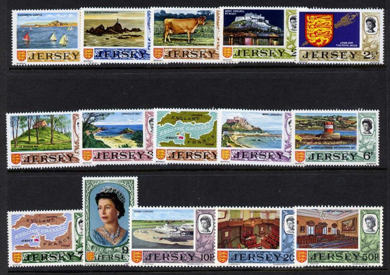 Jersey 34-48 MNH Royalty, Architecture, Animals, Map, Aircraft, Crest, Boats