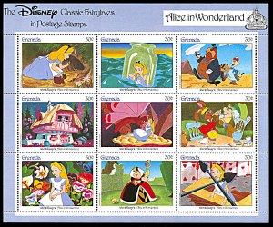 Grenada 1544, MNH, Disney Alice in Wonderland miniature sheet