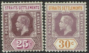 STRAITS SETTLEMENTS 1912 KGV 25C AND 30C WMK MULTI CROWN CA