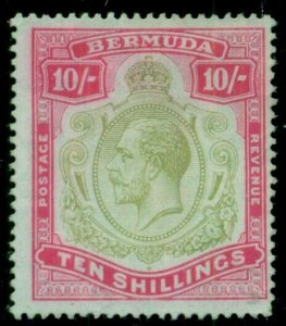 BERMUDA #53, 10sh Geo. V, unused no gum, small thin, F/VF, Scott $225.00