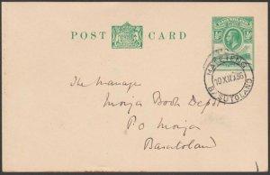 BASUTOLAND 1936 GV ½d postcard commercially used MAFETENG to Morija.........N374