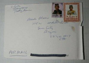 Brunei Airmail Cover Sun CIty AZ USA Sc# 341 506 1996