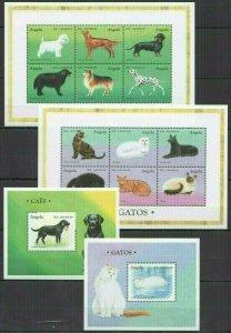 QF0395 ANGOLA FAUNA DOMESTIC ANIMALS PETS DOGS & CATS 2BL+2KB FIX STAMPS