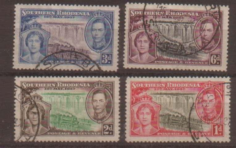 Southern Rhodesia 1937 Coronation set of 4 used SG36/39 c...