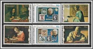 Aitutaki #176-181 Paintings of Letter Writers Complete Set MNH