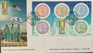 World Stamp Expo 2000 Aneheim Resort New Zealand $5.00 Souvenir Sheet 7-16 2000