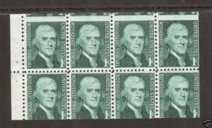 US Sc 1278a MNH. 1968 1c Jefferson Miscut Pane of 8, fresh, VF