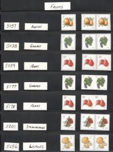 5037,5038,5039,5177,5178,5201 & 5256 Fruits 7 Singles & 7 Pairs 21 Stamps
