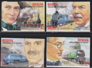 Bequia # 237-240, Railroad Engineers & Locomotives, Imp NH