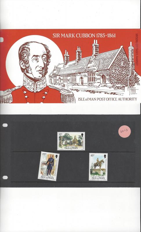 Isle of Man 291-3 Sir Mark Cubbon MNH Presentation Folder