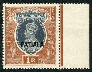 Patiala SG92 KGVI 1r crease  Cat 38 pounds