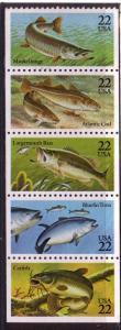 US #2205-2209 $0.22 Fish- Booklet pane of 5 - CV $5.00