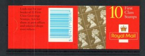 10x 1st BARCODE BOOKLET TYPE 9C CYLINDER B13 WITH SLIGHTLY MISCUT COVER