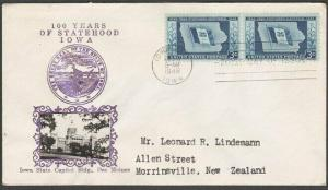 USA 1946 CROSBY photo FDC to New Zealand - 3c Iowa Statehood...............55578