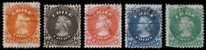 Chile Scott 15-19 (1867) Used H F-VF Complete Set, CV $61.00 B
