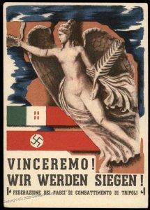 Italy and 3rd Reich National Fascists Libya Tripoli Dual Language Propagan 97368