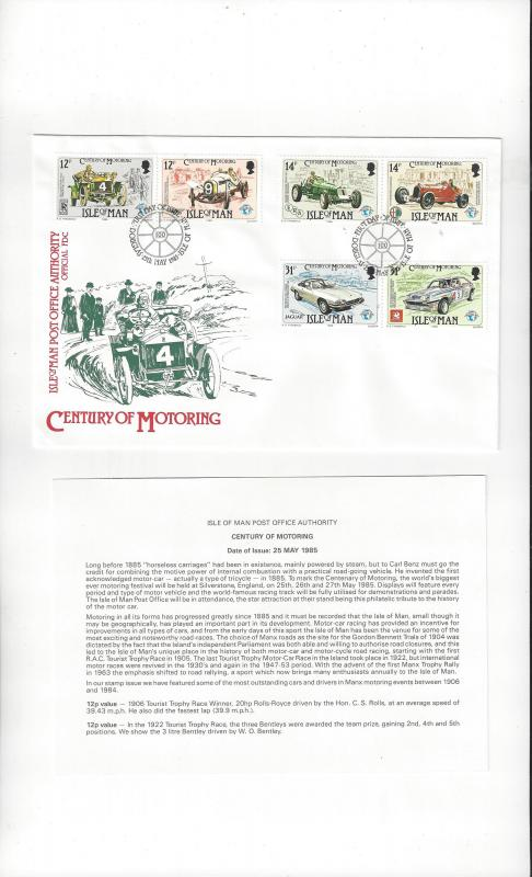 Isle of Man FDC 284-86 Century of Motoring 1985 Official Cachet