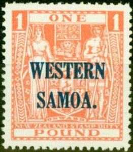 Western Samoa 1948 £1 Pink SG210 Fine Lightly Mtd Mint