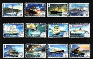 Tristan da Cunha-Sc#1060-71-Unused NH set-Early Mail Ships-2015-